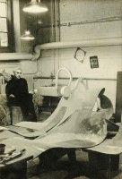 Derwent in Studio with Undulating Sculpture