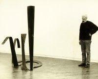 Derwent in gallery with sculpture