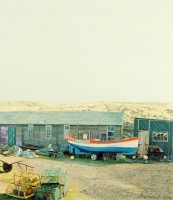 Fishermen's Huts Holy Island   Acrylic on Paper   2003   49 x 43 cms   Private Collection EAW