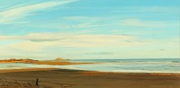 Holy Island Castle from Ross Point   Acrylic on Paper   1990   28 x 56 cms   Private Collection DMW
