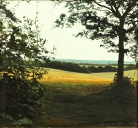 Landscape in Hampshire   Acrylic on Paper   1998   28 x 31 cms   Private Collection EAW