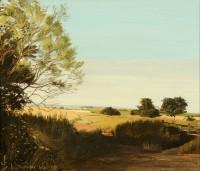 Northumbrian Landscape near Longframlington   Acrylic on Paper   1985   30 x 34 cms   Private Collection EAW
