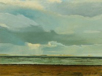 Summer Storm Holy Island  Acrylic on Paper   1991   29 x 38 cms   Private Collection RSW