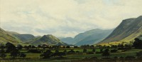 Towards Crummock Water   Acrylic on Paper   1998   13 x 27cms  Private Collection DMW