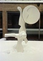 White Sculpture in Snow - Marske School Yorkshire   Wood, Paint and Fibreglass